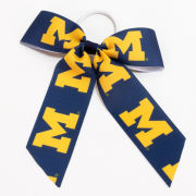 USA Sport Bows University of Michigan Navy/Yellow Block ''M'' Cheer Bow Pony Tail Holder
