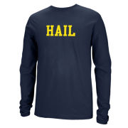 Valiant University of Michigan Navy ''HAIL'' Long Sleeve Tee