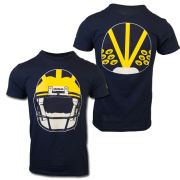 Valiant University of Michigan Football Navy Helmet Front/Back Tee