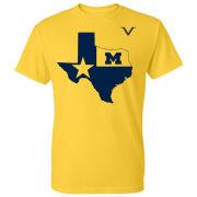 Valiant University of Michigan ''State of Texas'' Yellow Tee