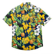 Valiant University of Michigan Floral Print Button-Up Shirt