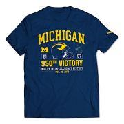 Valiant University of Michigan Navy 950 Wins Commemorative Tee with Score