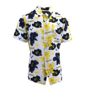 Valiant University of Michigan White Printed Floral Button Up Shirt