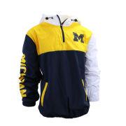 Valiant University of Michigan Tri-Color Pullover 1/4 Zip Anorak Jacket