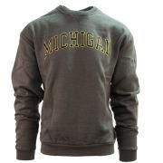 Valiant University of Michigan Charcoal Gray Embroidered Twill Crewneck Sweatshirt