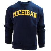 Valiant University of Michigan Navy Embroidered Twill Crewneck Sweatshirt