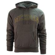 Valiant University of Michigan Charcoal Gray Embroidered Twill Hooded Sweatshirt
