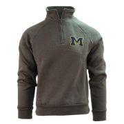 Valiant University of Michigan Charcoal Gray 1/4 Zip Pullover Sweatshirt