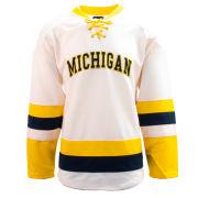 Valiant University of Michigan Hockey Off-White Lace-Up Jersey