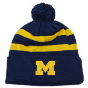 Valiant University of Michigan Navy and Yellow Stripe Pom Knit Hat
