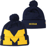 Valiant University of Michigan Navy Big Block ''M'' Logo Cuffed Pom Knit Hat