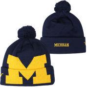 Valiant University of Michigan Navy Big Block ''M'' Logo Cuffed Pom Knit Hat