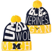 Valiant University of Michigan Navy/ Yellow ''Go Blue'' Cuffed Pom Knit Hat