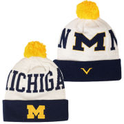 Valiant University of Michigan White ''Michigan'' Cuffed Pom Knit Hat