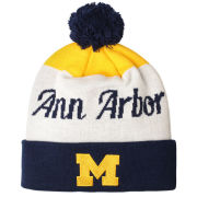 Valiant University of Michigan ''Ann Arbor'' Script Cuffed Pom Knit Hat