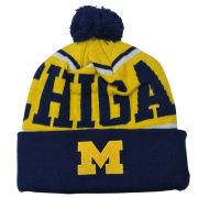 Valiant University of Michigan Yellow ''Michigan'' Cuffed Pom Knit Hat