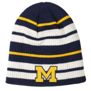 Valiant University of Michigan Navy/ Yellow/ White Striped Beanie Knit Hat