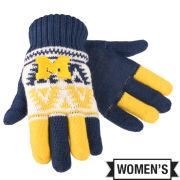 Valiant University of Michigan Women's Navy/Yellow/White Knit Gloves