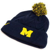 Valiant University of Michigan Women's Navy Chevron Knit Cuffed Pom Knit Hat