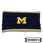 Valiant University of Michigan Women's Navy/ Tan Cable Knit Earband