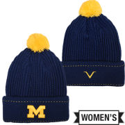 Valiant University of Michigan Women's Navy Cable Knit Cuffed Pom Knit Hat