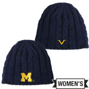 Valiant University of Michigan Women's Navy Cable Knit Beanie Hat