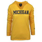 Valiant University of Michigan Women's Yellow Hooded Long Sleeve Tee