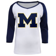 Valiant University of Michigan Women's White Raglan Tee