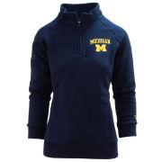 Valiant University of Michigan Women's Navy 1/4 Zip Pullover Sweatshirt