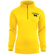 Valiant University of Michigan Women's Yellow 1/4 Zip Pullover Sweatshirt