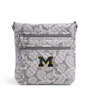 Vera Bradley University of Michigan Gray/White Bandana Iconic Triple Zip Crossbody Hipster Bag