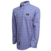 Vesi University of Michigan Blue Clip Gingham Sport Shirt