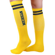 Valiant University of Michigan Yellow with Navy Stripes Knee High Socks