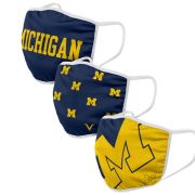 Valiant University of Michigan Classic Design Face Covers [3 Pack]