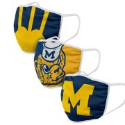 Valiant University of Michigan Themed Design Face Covers [3 Pack]