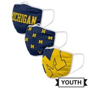 Valiant University of Michigan Youth Classic Design Face Covers [3 Pack]