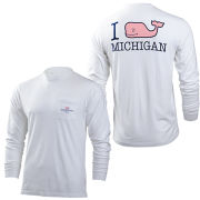 Vineyard Vines University of Michigan White Long Sleeve Tee