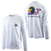 Vineyard Vines University of Michigan Football White Long Sleeve ''Football Whale'' Tee