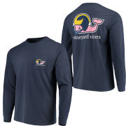 Vineyard Vines University of Michigan Football Navy Long Sleeve ''Football Whale'' Tee