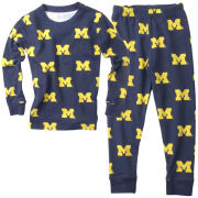 Wes & Willy University of Michigan Navy All Over Printed Pajama Set