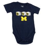 Wes & Willy University of Michigan Infant ''Go Blue'' Blocks Onesie Bodysuit