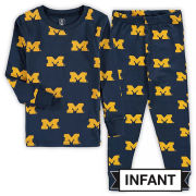 Wes & Willy University of Michigan Infant Navy All-Over Print Block ''M'' Logo Pajama Set