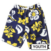 Wes and Willy University of Michigan Youth Navy Floral Swim Trunks