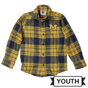 Wes & Willy University of Michigan Youth Long Sleeve Flannel Shirt