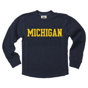 Wes & Willy University of Michigan Youth Navy Long Sleeve Thermal Waffle Tee