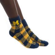 ZooZatz University of Michigan Navy/Yellow Buffalo Check Fuzzy Cozy Socks