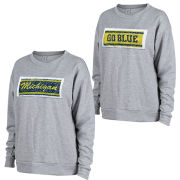 ZooZatz University of Michigan Women's Gray Inverse Sequin Logo Crewneck Sweatshirt