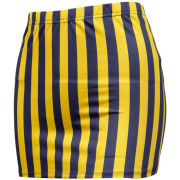 ZooZatz University of Michigan Women's Navy/Yellow Striped Cheer Skirt