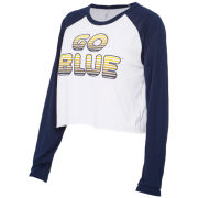 ZooZatz University of Michigan Women's White/Navy Long Sleeve Gradient Crop Tee