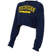 ZooZatz University of Michigan Women's Navy Cinched Waist Cropped Crewneck Sweatshirt